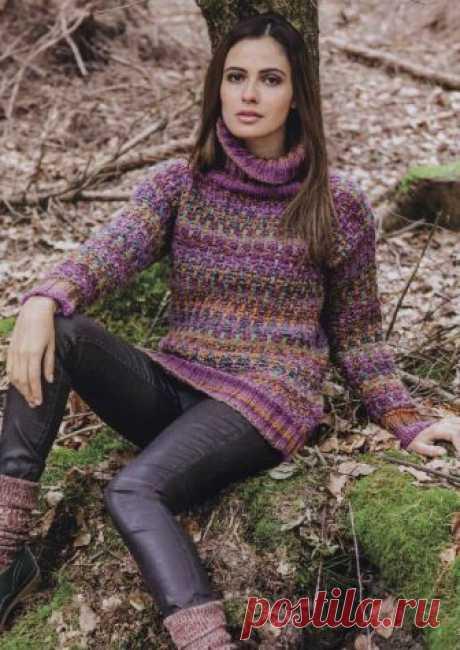 Вязание крючком и спицами - Разноцветный свитер узором из спущенных петель