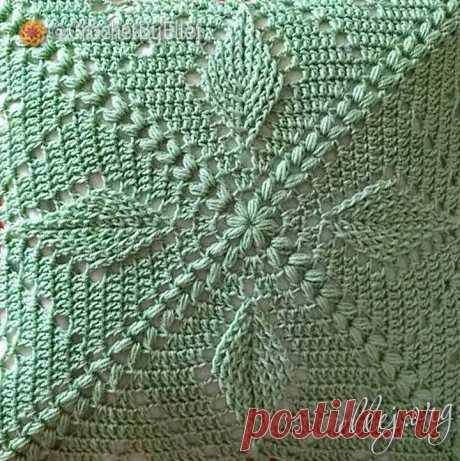 Квадратный мотив, подушка с рельефными листочками. | Вязание крючком от Елены Кожухарь