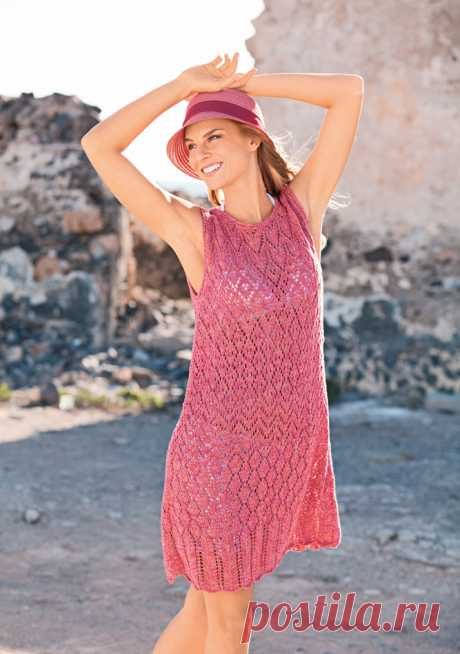 Пляжное платье спицами ажурным узором - Портал рукоделия и моды