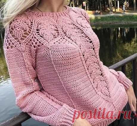 Интересный узор для нежного пуловера из категории Интересные идеи – Вязаные идеи, идеи для вязания