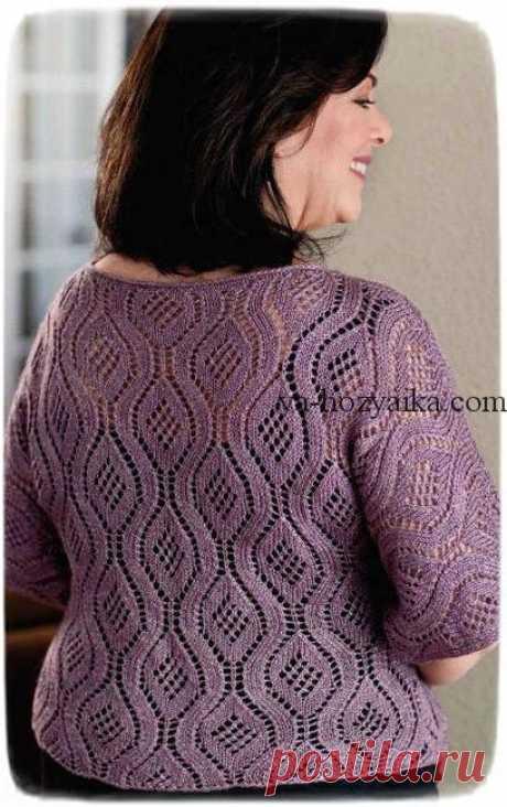 Вязаный красивый пуловер спицами из ажурных ромбов. Пуловер спицами для полных дам