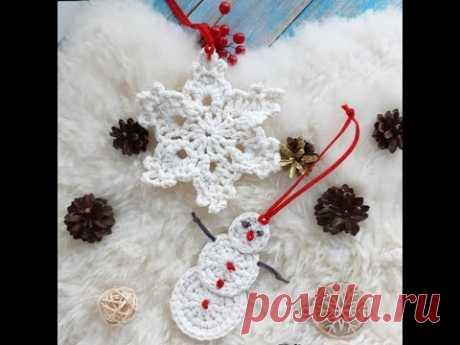 Новогодняя подвеска - снеговик