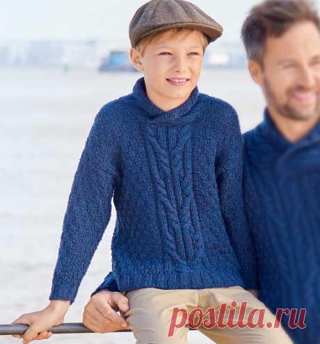 Детский пуловер с воротником-шалькой - схема вязания спицами с описанием на Verena.ru