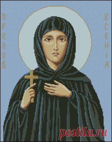 Св. Ксения.  Цветная схема для вышивки крестиком бисером