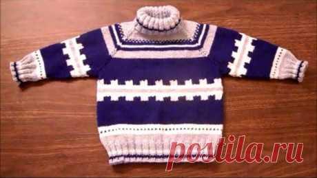 El jersey el raglán vinculado de arriba. Crecimiento de 104 cm. La parte 2
