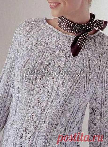 Нежный пуловер реглан с косами. Описание и схемы вязания Очень красивый узорчатый пуловер, связанный спицами из светло-серой хлопковой пряжи. Полное описание и все схемы прилагаются для разных размеров.  Размер: 38/40 и 42/44.