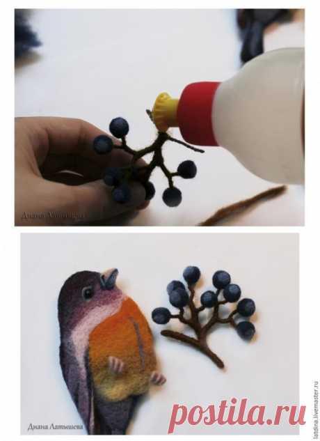 Валяние птички из шерсти
