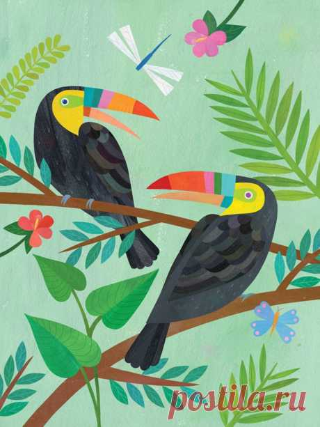 Toucan Friends Jungle art print for kid's room or | Etsy