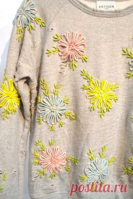 Украшаем одежду вышитыми цветами: идеи и стежки
