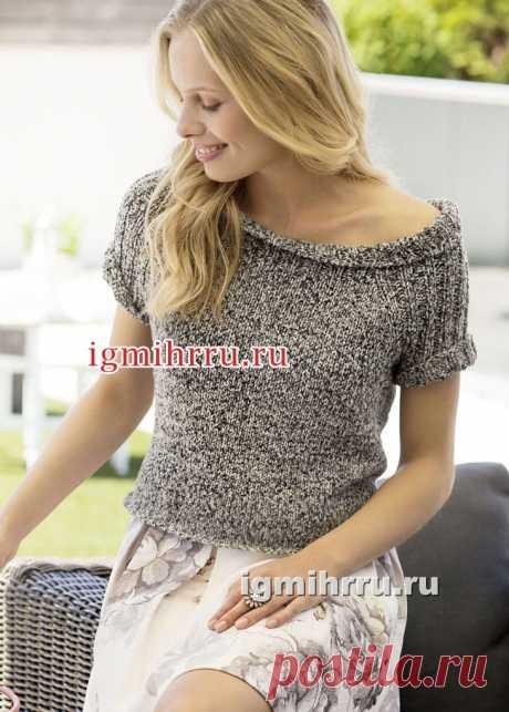 Летний меланжевый пуловер с круглой кокеткой. Вязание спицами