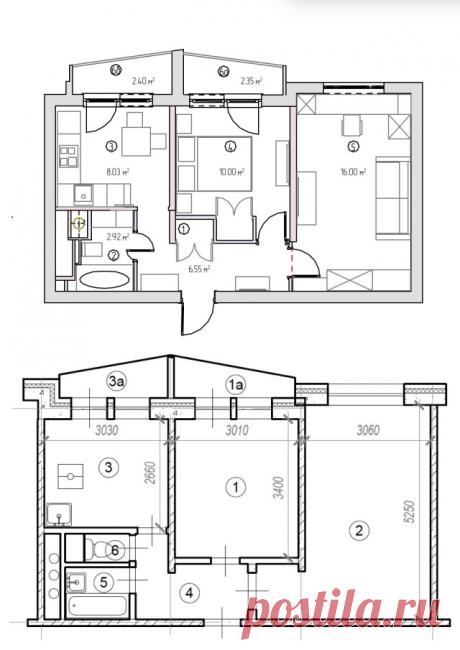 До и после: Светлая квартира 44 кв.м в «доме на ножках» | Houzz Россия