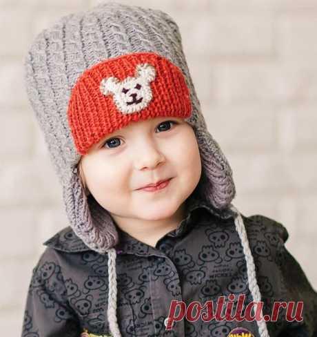 Детская шапка с ушками вязаная спицами