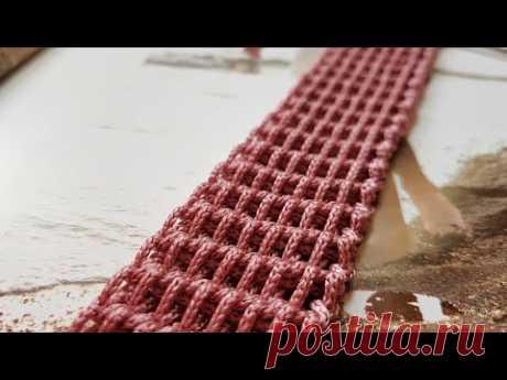 Новый фактурный жгут тунисским способом 💖 crochet pattern.
