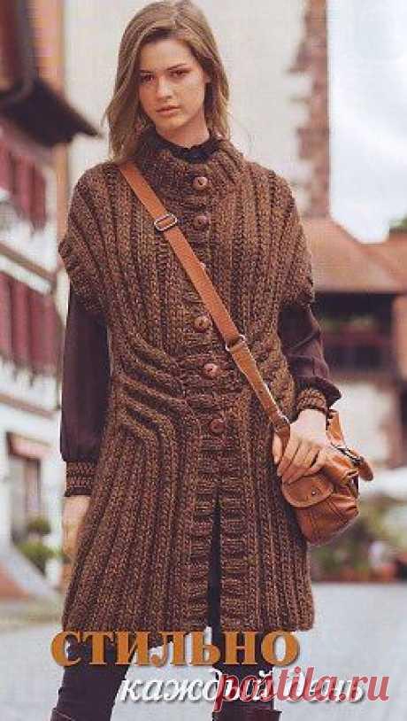 Длинный жилет спицами- схема вязания | Схемы вязания