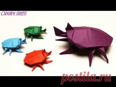 Оригами жук носорог из бумаги