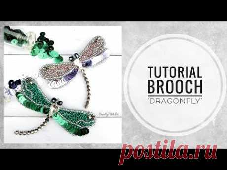 #МК - Брошь Стрекоза с пайетками | #Tutorial - Brooch of Dragonfly with sequins