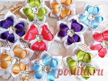 Нарядные резинки бантики из лент канзаши МК / hair clips ribbon kanzashi DIY
