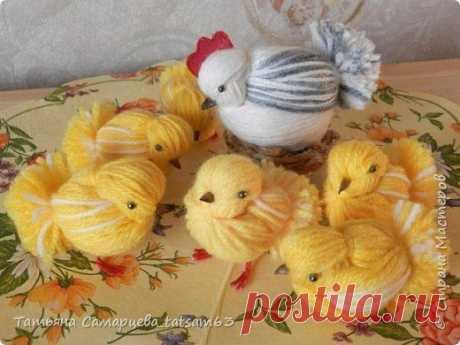 Цыплята из желтой пряжи: мастер-класс