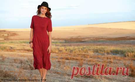 Красное платье спицами с узором из ромбов - Портал рукоделия и моды