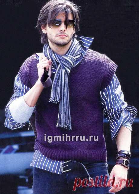 Мужской жилет с плетеным узором. Вязание спицами со схемами и описанием