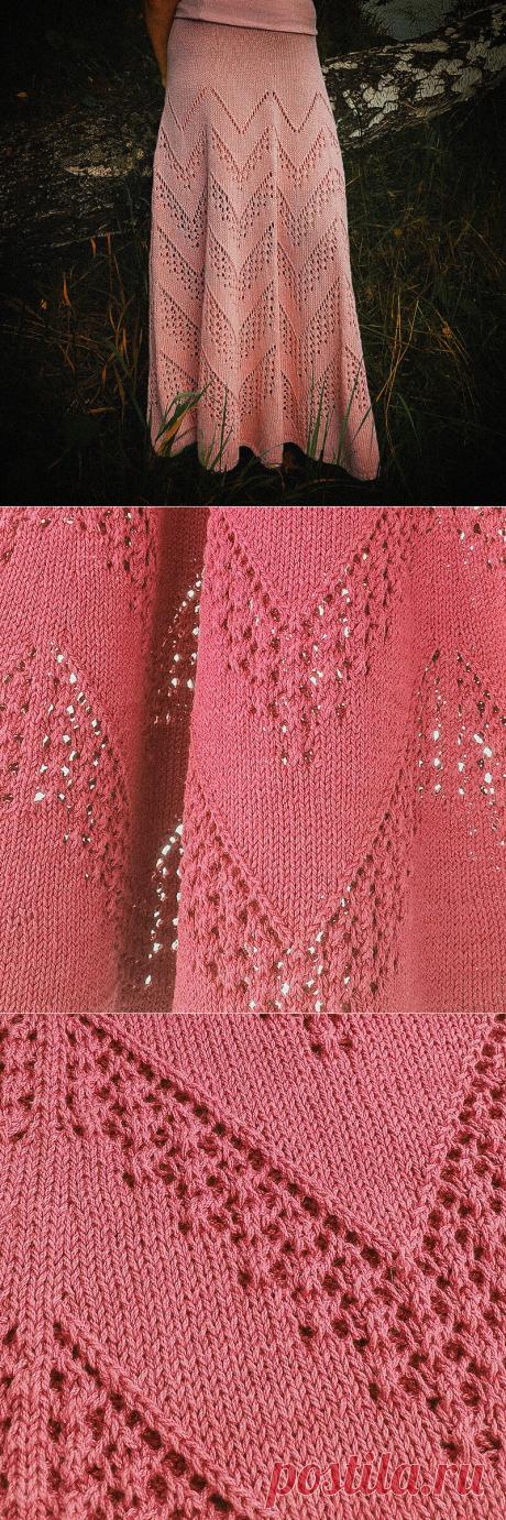 Схема для ажурной юбки с зигзагами спицами | Вязунчик — вяжем вместе | Яндекс Дзен