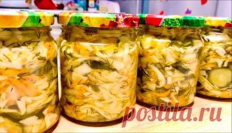 Зимой не замечаю как съедаем открытую баночку такого салата: любимая заготовка на зиму из капусты (делюсь рецептом) | Еда, я тебя омномном! | Яндекс Дзен