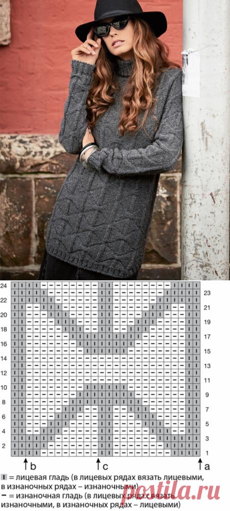 Теплый свитер с закругленными разрезами
