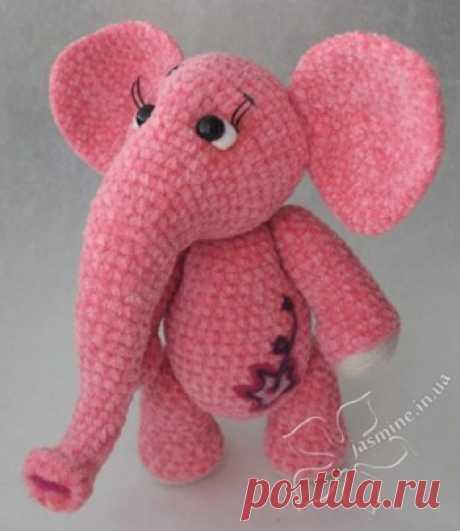 Розовая слоняша от Янины (jasmine) - вязание крючком на kru4ok.ru