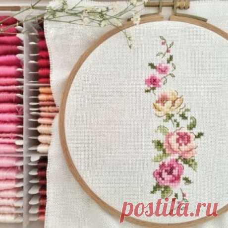 Запись на стене Изящный цветочный орнамент (Вышивка крестом)