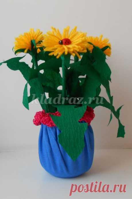 Цветы из пряжи и цветной бумаги — Поделки с детьми