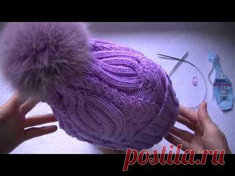 Вяжем шапку  с  узором  декоративная коса спицами.