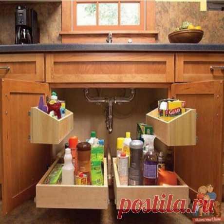 Идеи полочек под раковиной, используем место грамотно!