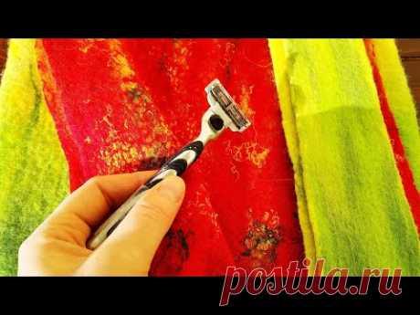 #felting #валяние сумка-декор из волокон вискозы,кройка ручки