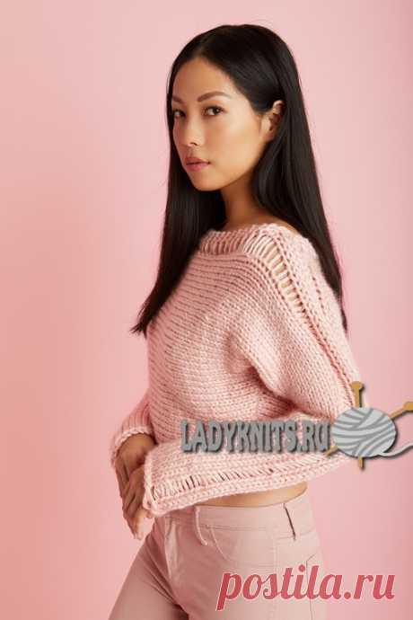 Вязание молодежного укороченного женского джемпера. Описание для размеров от XS до XXL