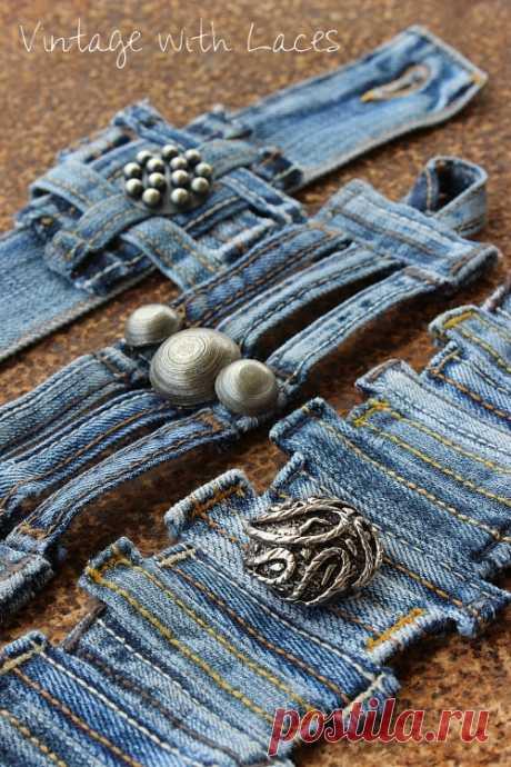 Винтаж : джинсовые браслеты