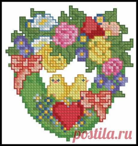 Пасхальное сердечко- схема вышивки крестом пасхальное сердечко