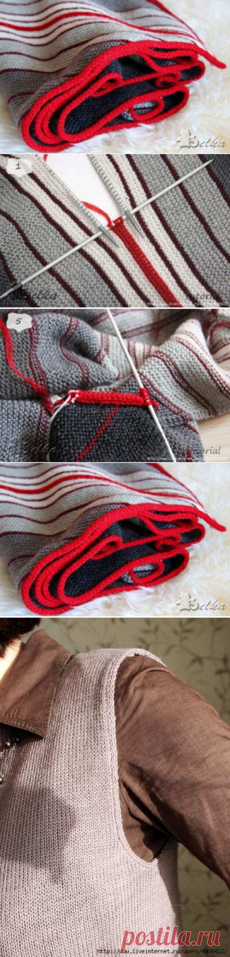 Способ i-cord для обвязки края и соединения деталей - запись пользователя Марина в сообществе Вязание спицами в категории Вязание спицами для начинающих