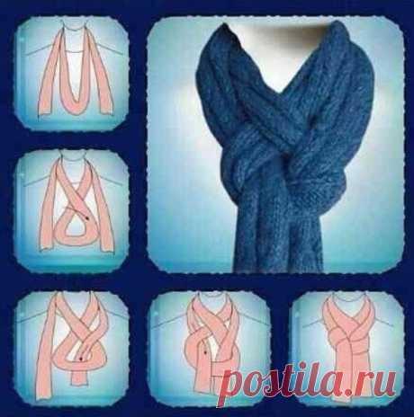 Как интересным способом завязывать шарфик — Полезные советы