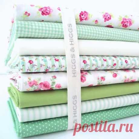 8 X FQ BUNDLE - ROSALIND IVORY with GREEN - FLORALS 100% COTTON FABRIC | eBay
