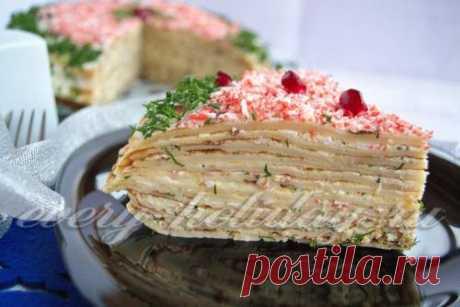 Закусочный торт из блинов: рецепт с фото