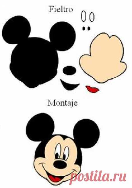 ... de Mickey Mouse. Broche. Patrones de fieltro gratis para…