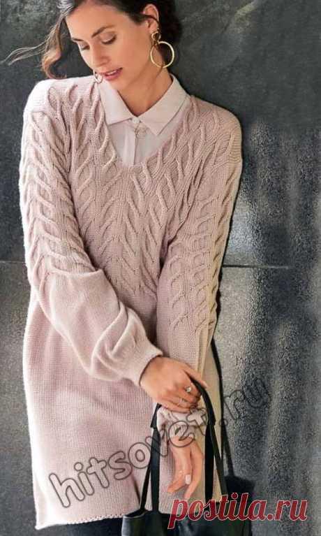 Модная туника 2018 - Хитсовет Модная модель женской туники 2018 года с узором из кос со схемой и пошаговым описанием вязания.