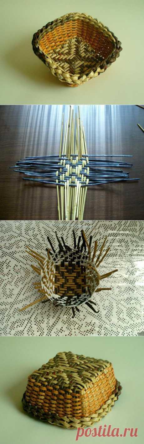 Простая схема плетения дна корзины из газетных трубочек | Ladiesvenue