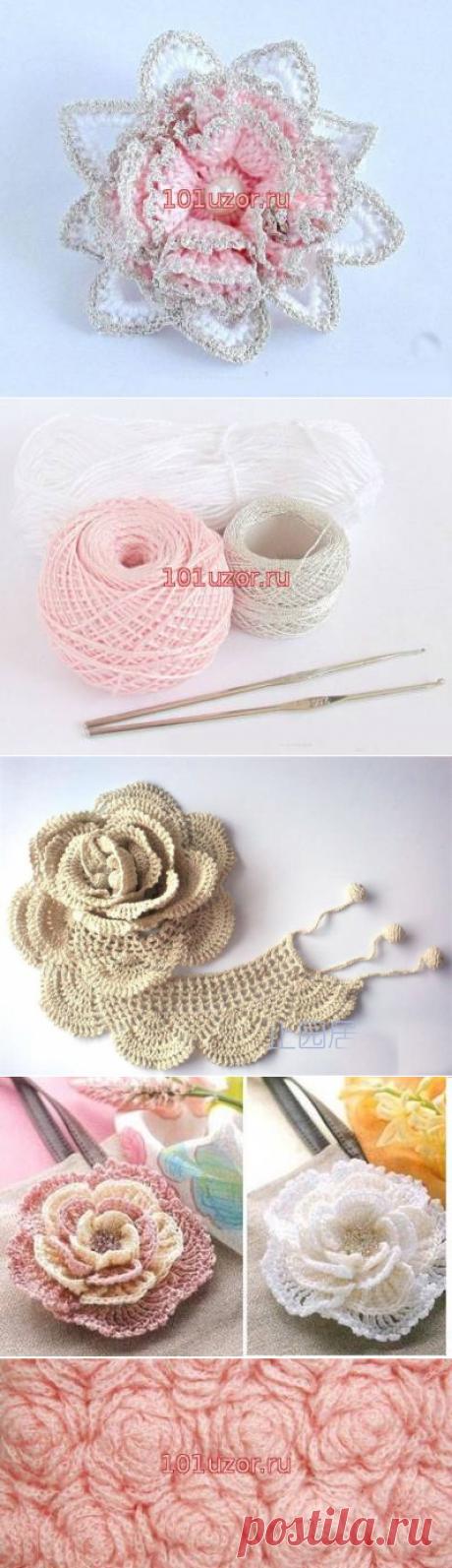 Вязание объемных цветов крючком - Модное вязание - Схемы вязания крючком и спицами - Вязание