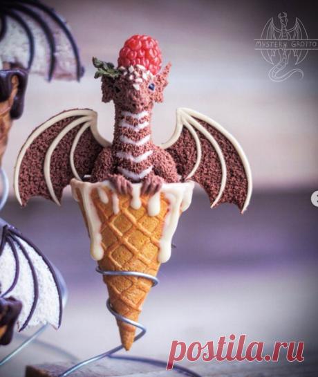 """Брошь """"Дракончик"""" в мороженом."""