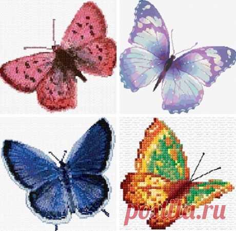 Los esquemas del bordado de las mariposas por la cruz