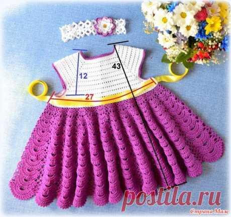 """Платье и повязка на голову """"Алиса в стране чудес"""" крючком. - Вязание для детей - Страна Мам"""