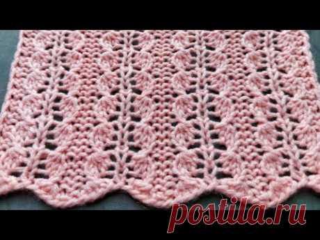 Очень лёгкий и простой узор спицами для вязания ажурных изделий