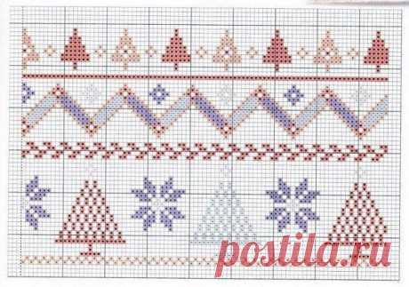 Схема вышивки крестиком бисером к Нг и Рождеству