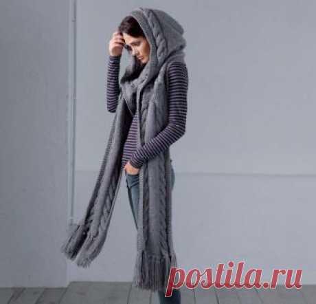 Удобный аксессуар - капюшон с шарфом
